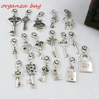 Wholesale Locking Slide Clasp - Hot ! 102pcs Antique Silver mixed Heart Crown Lock   Key Dangle Beads And Lobster Clasp DIY Jewelry 17 style