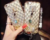 ingrosso catena di casi iphone 5s-Luxury Glitter Diamonds bling strass case Chain Bracelet Design Custodia Cover posteriore per iPhone 7 plus 5 s 6 plus