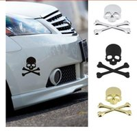 Wholesale Cool Metal Badge - 1Pc New Cool 3D Skull Metal Skeleton Crossbones Car Motorcle Sticker Label Skull Emblem Badge Car Styling Stickers Accessories