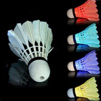 Wholesale Led Badminton Shuttlecock Birdies - New Dark Night LED Badminton Shuttlecock Birdies Lighting LED Light Badminton Red Blue Green Flashlight Novelty Lighting Colorful Badminton