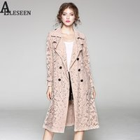 OL Lace Thin Coats 2017 Autunno New Fashion Turn-Down Collar Vintage Hollow Out vita regolabile blu rosa manica lunga cappotto completo