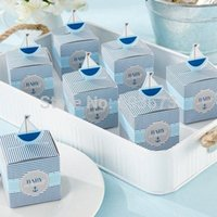 """Wholesale Wholesale Shower Boards - Wholesale-Blue """"Baby On Board"""" Pop-Up Sailboat Candy Favor Boxes box for Baby Shower With Free Shipping 12pcs"""