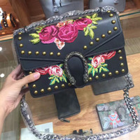 Wholesale Dionysus flower embroidery shoulder bag women Genuine Leather handbags rivets crossbody messenger bags famous brands bag designer