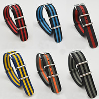 Wholesale watch stripes free for sale - Group buy 18mm Stripe Fine Quality Nylon Nato Straps Watch Band For Most Watches with Steel Ring