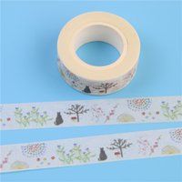 Vente en gros- 2016 1 Pcs Cats and Grass Cartoon Washi Papier Masquage Tapes Diy Scrapbooking Stickers Décoratifs Matériel Escolar