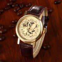 коричневый кожаный браслет оптовых-Скелетон Мужские коричневые кожаные ремешки Кварцевые наручные часы из нержавеющей стали