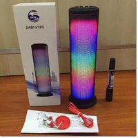 Wholesale Wireless Sd Card Reader - colorful stereo bluetooth wireless JHW v169 led speaker with mic SD card reader black white blue red colors for samsung iphone