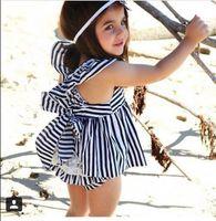 Wholesale Tz Dress - Wholesale- 2017 new arrival summer style girls baby clothing set striped fabric dress + pants 2 pcs baby infant clothes baby suit TZ-294
