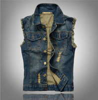 Wholesale Denim Jacket Vest Men - Wholesale- VXO Lapel Denim Vest Jacket Hip hop cow boy Waistcoat denim Outerwear patchwork vest motorcycle club vest