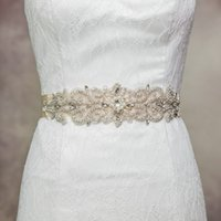 Wholesale Cheap Designer Beaded Wedding Dresses - Cheap Women Fashion Designer Belt 4cm Thin Satin Sashes Wedding Supplies for Bride Wedding Dress Belts Handmade R26 Top Quality