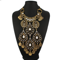 Wholesale Wholesale Ancient Coins - Wholesale-Ancient coin shaped big maxi necklaces & pendants wild Gypsy style fashion fine jewelry bohemian free shipping