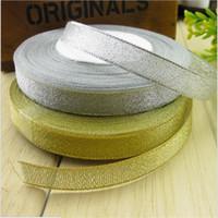 Wholesale Crafts Glitter Ribbon - 25Yards Golden Silver Glitter Ribbon 6mm 10mm 15mm 20mm 25mm Onions Ribbons Riband For Wedding cake Gift Decoration DIY Craft