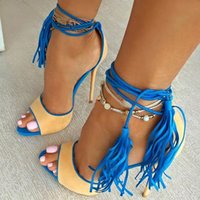 Big Size Brand Design Lady High Heels Sandale Sexy Tassel Femmes Gladiator Sandal Strappy Open Toe Summer Dress Party Shoes
