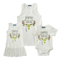 Wholesale Deer Dresses - Deer Head print Tshirt Gypsy souls print Mother and kids clothes buck cotton Sleeveless T shirt Romper Dress 12sizes Summer family outfits