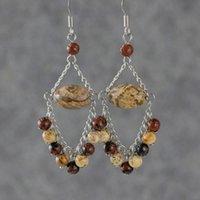 Wholesale Obsidian Earrings - YZ24 One pair Mahogany Obsidian&Picture Jasper earring Random send