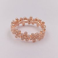 Rose Gold Plated 925 Sterling Silver Ring Dazzling Daisy Band Europea Pandora Style Jewelry Charm Ring Regalo 180934CZ