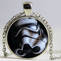 Wholesale Storm Necklace - Flare Storm Trooper Logo Pendant Jewelry Gifts For boy Artistic picture glass necklace