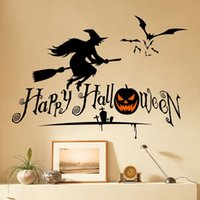 Wholesale Witches Wall Stickers - Halloween Witch Series Removable Diy Wall Decals Stickers Waterproof PVC Wall Stickers