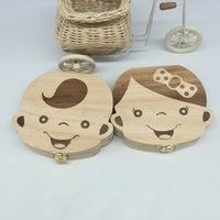 Plastics spanish souvenirs - English and Spanish Languages Wood Baby Deciduous teeth collection Box Cute Boy Girl Imag Souvenir