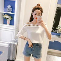 Wholesale Sexy Korean Lady Blouse - Summer Sexy Off Shoulder Women's Blouses Korean Fashion Half Sleeve Loose Casual Shirt Bell Sleeve Ladies Hollow Out Chiffon Blouse