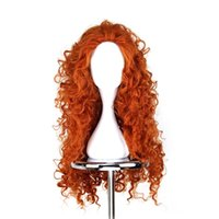 Girl orange wigs - WoodFestival Brave Merida wigs cosplay orange long hair heat resistant synthetic wigs curly anime wig women good quality