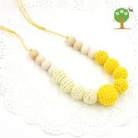 Wholesale Nursing Necklace Crochet - WHOLESALE Fade Yellow and cream color crochet beads necklace knit ball nursing necklace EN40
