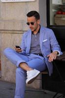 Wholesale Two Piece Linen Casual Suit - Summer Casual Mens Suits Blue Linen Suits Notched Lapel Beach Wedding Suits For Men Slim Fit Grooms Tuxedos Two Piece Groomsmen Suit