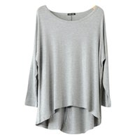 Wholesale Trendy Shorts Tops Wholesale - Wholesale-Trendy 14 Colors Women Casual Batwing Long Sleeve Loose Tops T-shirt Plus Size