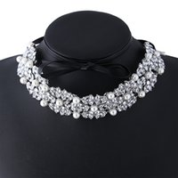 Wholesale Pearl Rhinestone Collar Necklace - hot sale Fashion jewelry Personality bandages Pu leather bow studded faux pearl rhinestone diamond collar Choker necklace