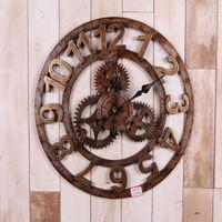 Wholesale Wood Wall Watch - Wholesale- 2016 Retro Gear wood wall clock wandklok wall clocks Vintage 3d home decor kitchen relojes decoracion saat wanduhr watches reloj
