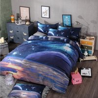Wholesale 3d bedding set single online - 3D Print Galaxy Duvet Cover Set Single double Twin Queen bedding sets Universe Outer Space Themed Bed Linen Bed Sheet