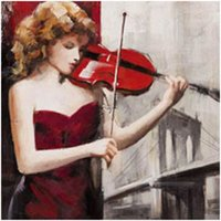 Wholesale Painted Mirror Hand - Play The Violin Oil Painting Hand-Painted Abstract On Canvas Prints For Home Decor Unframed Wall Art