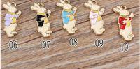 Wholesale Metal Alice - New 20 pcs Alice Bunny Enamel Metal Charms Jewelry Making Pendants Charms K54