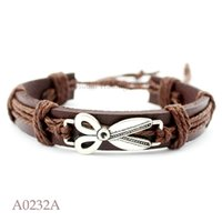 Wish Bracelet ANTIQUE SILVER Tijeras CHARM Adjustable Leather Cuff Bracelet for Men Mujer Amistad Casual Joyería