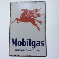 Wholesale Vacuum Shopping - Mobilgas Socony Vacuum Vintage sign home Bar Pub Hotel Restaurant Coffee Shop home Decorative Retro Metal Poster Tin Sign
