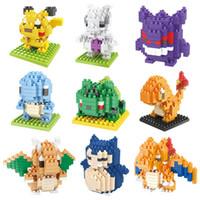 ingrosso gruppi di plastica-All'ingrosso-New Cartoon Building Blocks Pikachu Blocchi di plastica Assemblies Giocattoli per bambini Natale Building Blocks Toy Blocks A0534
