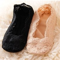 Wholesale Girls Home Sock - Wholesale- 5Pair Sexy Lace Socks Casual Home Slippers For Women Girls No Show Socks Slippers Casual Thin 3D Art Boat Socks Invisible Female