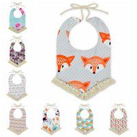 Wholesale Fox Scarves - 12 Styles Baby Bandana Bibs INS Burps Cloths Newborn Tassel Saliva Towels Infant Cotton Bibs Scarf Kids Cartoon Fox Dot Burp CCA6990 30pcs