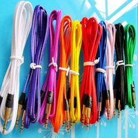 Wholesale New brand mm audio cable Flat fabric braid wire Plug stereo Aux Audio Cable for IPod iphone Mp3 M