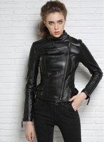 Wholesale Sexy Red Leather Jacket - Black red fashion motorcycle short Genuine leather jacket women's street slim sexy natural sheepskin leather coats women oblique zipper