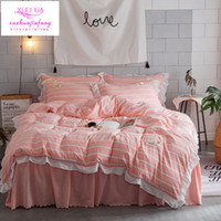 Wholesale Comforter King Set Simple - Bedding 4pcs set of washed cotton simple Korean version lace dyed striped lattice quilt cover bed skirt pillow cover bedding set