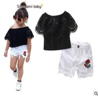 Baby Outfits Europe and America Style Black Lace Off Shoulder Tops White Ripped Shorts 2pcs Meninas Vestuário Set Summer Children Clothing