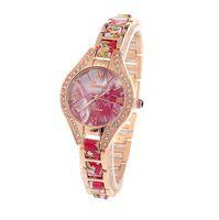 Wholesale women s watches online - Luxury Women s diamond bracelet watches Quartz fashion leather leather personality bracelet table Geneva belt strip watch for women