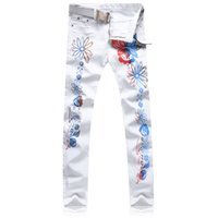 Wholesale Sunflower Denim - 2017 new Men's fashion slim colored sunflower print jeans Casual white stretch denim pants Long trousers