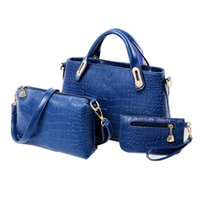 Wholesale women 3pcs casual - Wholesale- 3PCS Set Fashion Composite Bags Women Shoulder Bag Vintage Women PU Leather Handbags and Purses Ladies Crocodile Pattern Bags