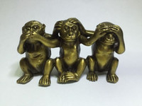 La Chine rassemble une superbe Brass See Speak Hear No Evil 3 Statues de singe