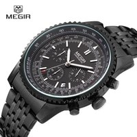 Wholesale Multi Function Mens Digital Watch - Relogio Masculino MEGIR Chronograph Function Mens Watches Stainless steel Luxury Mens Brand Military Wristwatches reloj  ML2008B