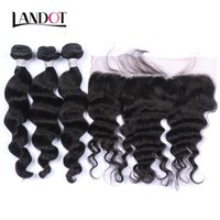 Wholesale Virgin Human Hair Loose Wavy - Ear to Ear Lace Frontal Closure With 3 Bundles Brazilian Loose Wave Curly Virgin Peruvian Indian Malaysian Wavy Human Hair Weaves Closures