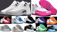Wholesale Purple Cherry - Top Quality 12s White Gray Gym Cherry RED Flu Game Basketball Shoes Women Men 12 TAXI Playoff French Blue Sneakers With Box 28-36-47