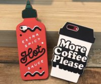 Wholesale Covers Iphone Cassette - Silicone case Cassette 3D hot spicy bottle more coffe please cup silicon Cover For Apple iPhone 7 7 Plus 6 6plus cellphone